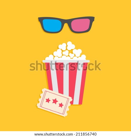 3D glasses big popcorn and ticket. Cinema icon in flat dsign style. Vector illustration - stock vector