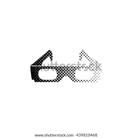 3d glasses - black vector icon ; halftone illustration - stock vector