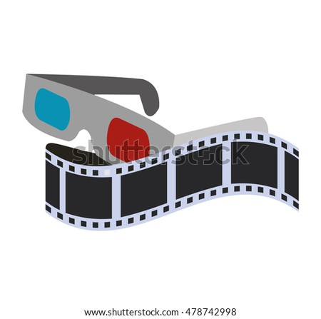 3d glasses film strip cinema movie entertainment show icon. Flat and Isolated design. Vector illustration
