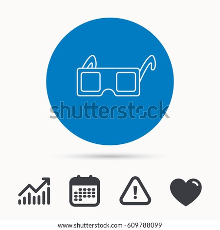 3 D Glasses Icon Cinema Technology Sign Stock Vector 609788099