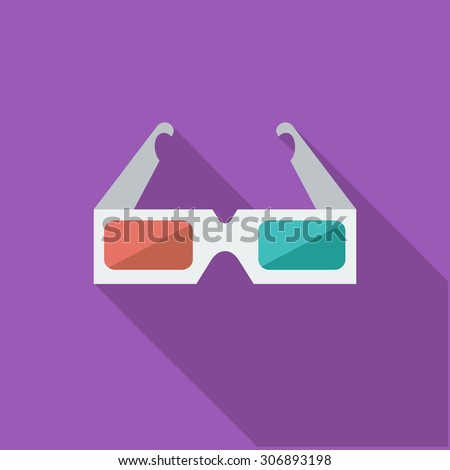 3D glasses icon. Flat vector related icon with long shadow for web and mobile applications. It can be used as - logo, pictogram, icon, infographic element. Vector Illustration. - stock vector