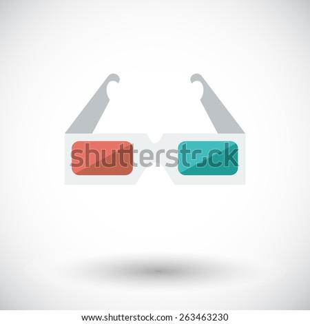 3D glasses. Single flat icon on white background. Vector illustration. - stock vector