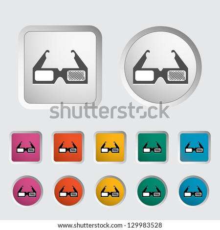 3D glasses single icon. Vector illustration. - stock vector