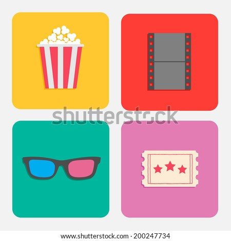 3D glasses, ticket, popcorn, film. Cinema icon set for web and mobile in flat dsign style. Vector illustration - stock vector