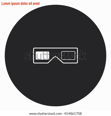 3d glasses web icon. Gray circle button with white illustration. - stock vector