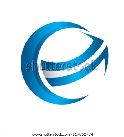 3D global arrow logo template - stock vector