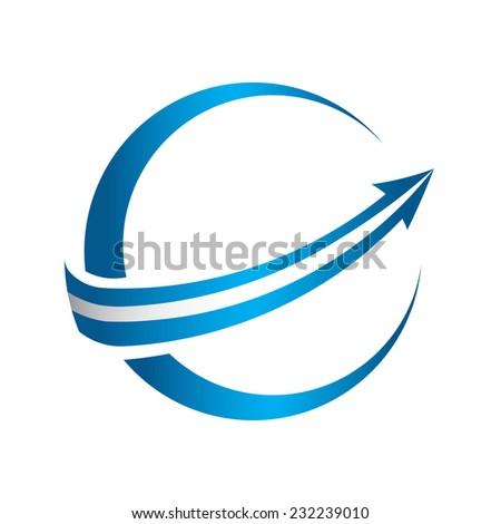3D global arrow vector icon - stock vector