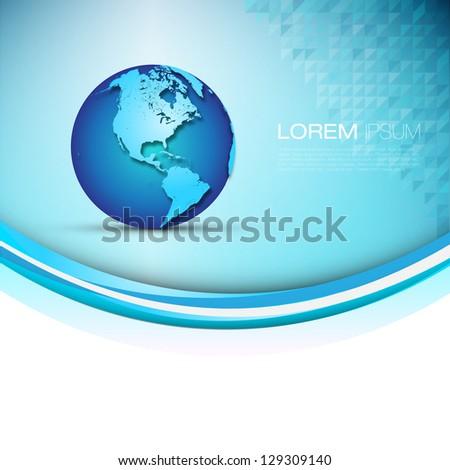 3D Globe Illustration | Modern Elegant Business Layout | EPS10 Background - stock vector