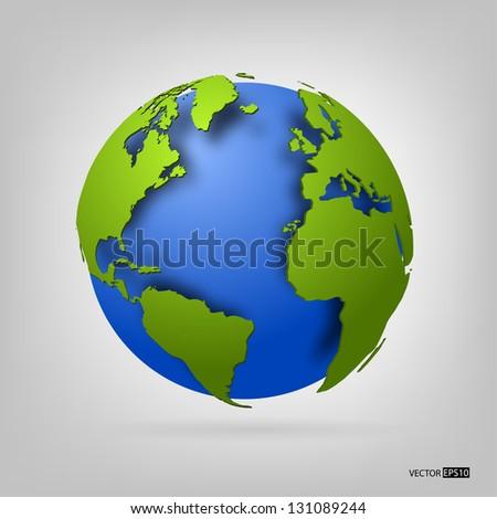 3d globe of the world. EPS10 vector illustration. - stock vector