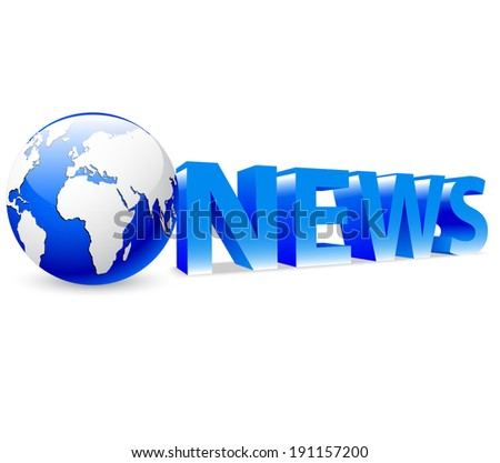 3D globe with blue word News