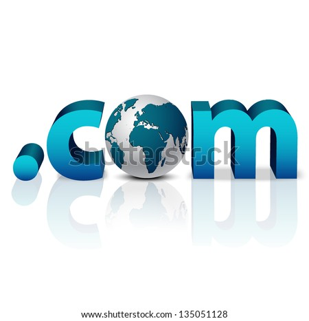 3D globe with word dot com in blue - front view - stock vector