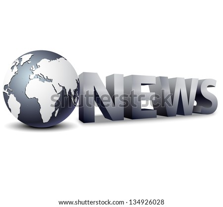 3D globe with word News - stock vector