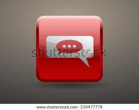 3d glossiness button chatting icon - stock vector