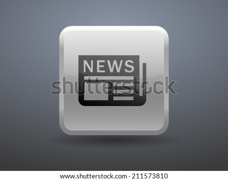 3d glossiness button icon of news - stock vector