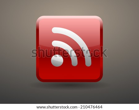 3d glossiness button icon of rss