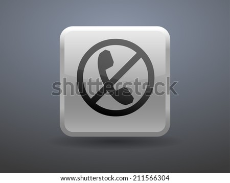 3d glossiness button turn off phone icon - stock vector