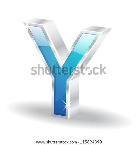 3d Glossy Alphabet Y Letter Vector Character - stock vector