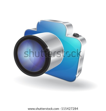 3d Glossy Camera Vector Icon