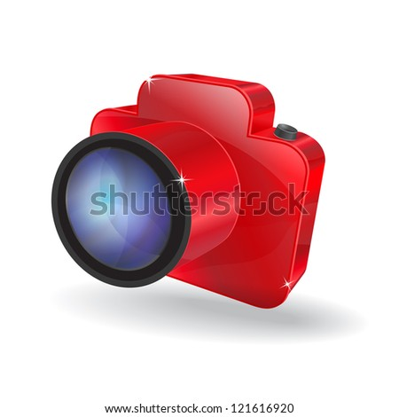 3d Glossy Camera Vector Icon - stock vector