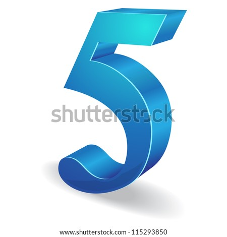 3d Glossy Five 5 Number  Vector - stock vector