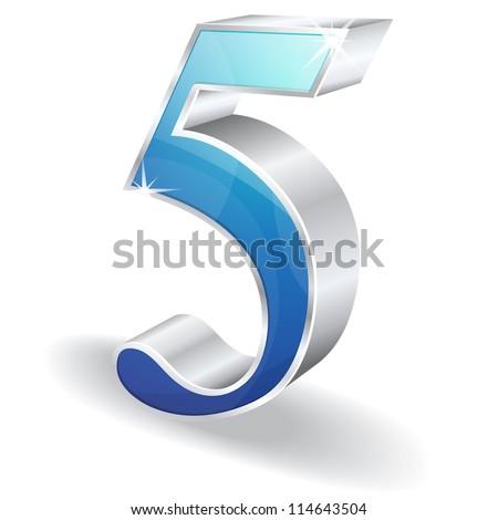 3d Glossy Five 5 Vector - stock vector