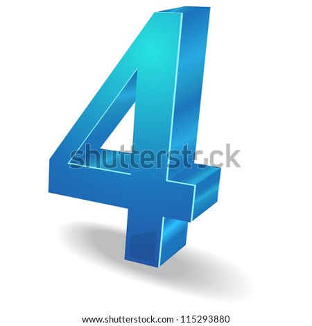 3d Glossy Four 4 Number  Vector - stock vector