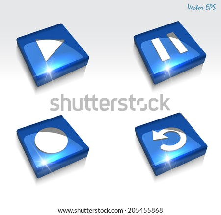 3d glossy music, play, pause, record, replay, web icon set - vector eps10 - stock vector