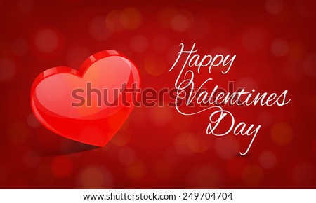 3D glossy red heart for Happy Valentine's Day celebration on shiny red background.