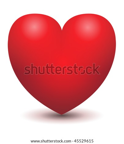 3d glossy red heart, vector