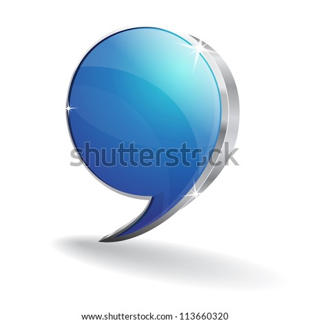 3d Glossy Talk Balloon Vector