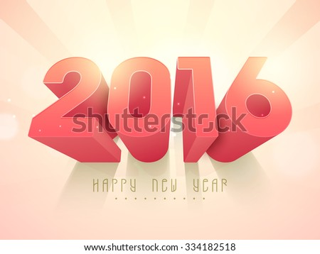 3D glossy text 2016 on abstract rays background for Happy New Year celebration. - stock vector