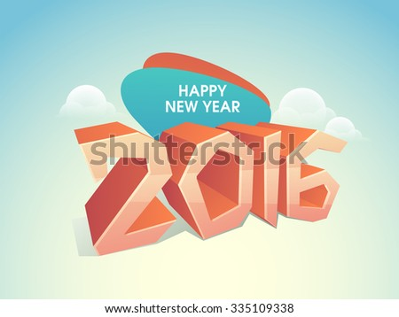 3D glossy text 2016 on cloudy sky background for Happy New Year celebration. - stock vector