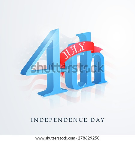 3D glossy text 4th of July with red ribbon on national flag waves background for American Independence Day celebration. - stock vector