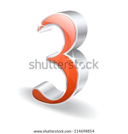 3d Glossy Three 3 Vector - stock vector