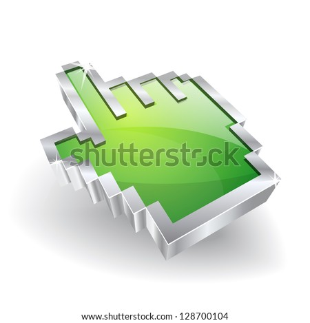 3d Glossy Vector Hand Icon - stock vector