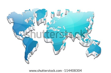 3d Glossy Vector World Map - stock vector