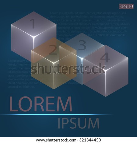 3d glowing transparent cubes for infographics. Colorful abstract background with three-dimentional geometric elements. Vector geometry for logo design, presentations and web.