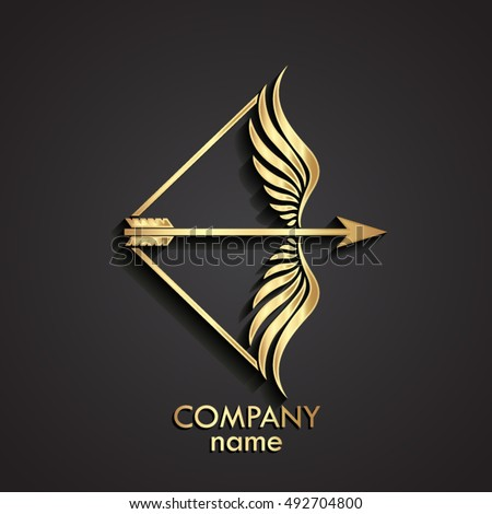 3d gold arrow with wings bow logo