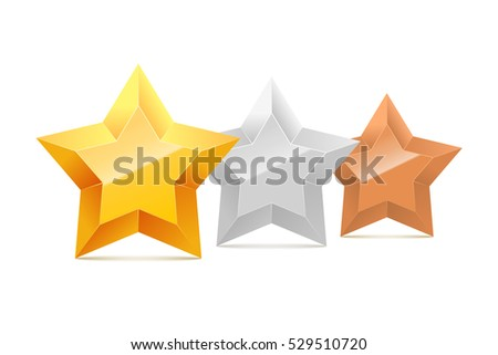 3D gold, silver and bronze stars in a row isolated on white background. Vector illustration