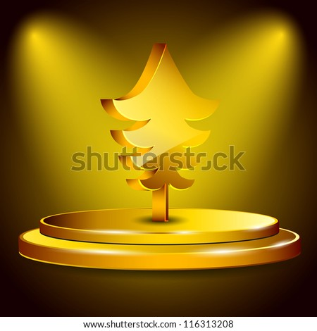 3D golden Christmas tree on stage. EPS 10. - stock vector