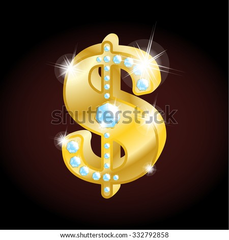 3d golden dollar with diamonds - stock vector