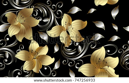3d Golden Flowers Seamless Pattern. Floral Background. Vintage 3d  Wallpaper. Swirl Line Art