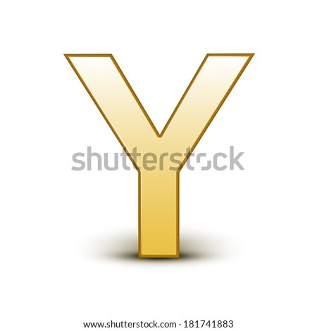 3d golden letter Y isolated white background