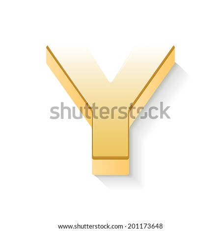 3d golden letter Y isolated white background - stock vector