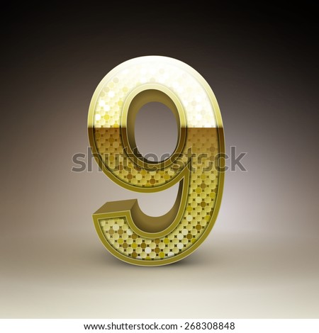 3d golden sequins number 9 isolated on brown background
