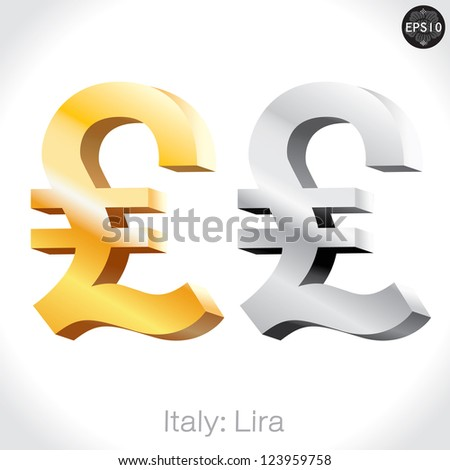 3D golden & Silver Lira sign isolated on white, Italy money, vector illustration.