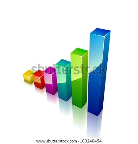 3d graph growing up. Vector illustration for business - stock vector