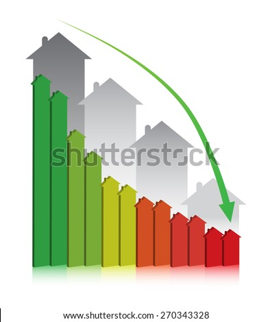 3D graph showing financial real estate decline. - stock vector