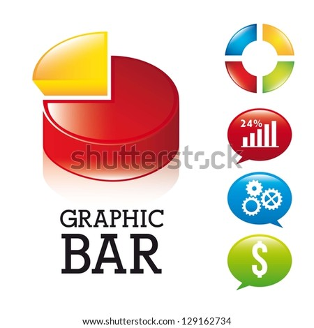 3d graphic bar over white background. vector illustration - stock vector