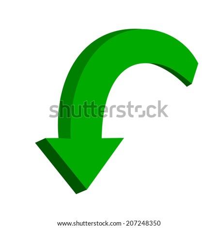 3D green arrow - stock vector
